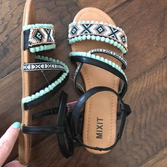 4b49c1fd5c9fb Mixit Womens Pom Strap Sandals